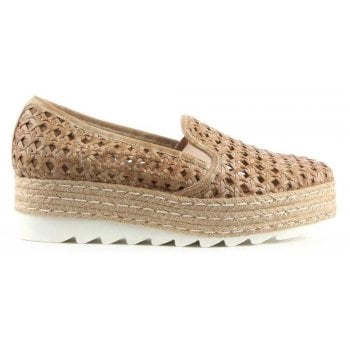 Daniel Shirlington Beige Leather Woven Espadrille Loafer