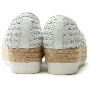 Daniel Shirlington White Leather Woven Espadrille Loafer