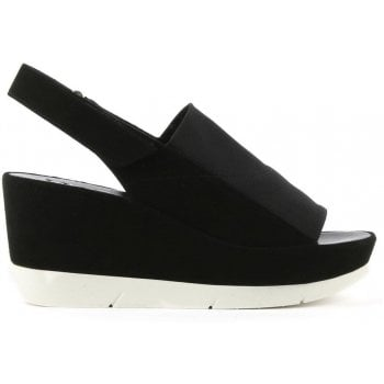 Hogl Black Suede Sling Back Wedge Sandal