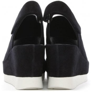 Hogl Navy Suede Sling Back Wedge Sandal