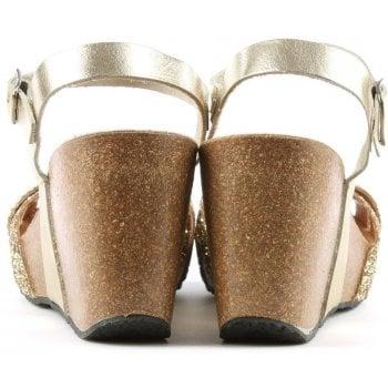 Daniel Beverlywood Gold Leather Glitter Wedge Sandal