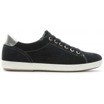 Hogl Navy Suede Silver Trim Lace Up Trainers
