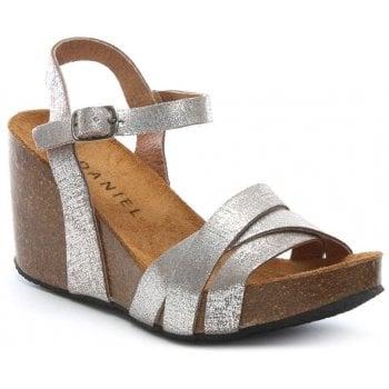 Daniel Beverlywood Silver Metallic Leather Wedge Sandals