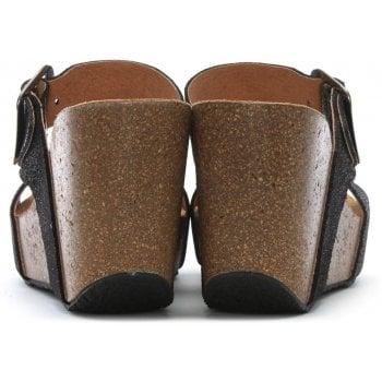 Daniel Patrinia Pewter Metallic Leather Two Bar Wedge Sandals