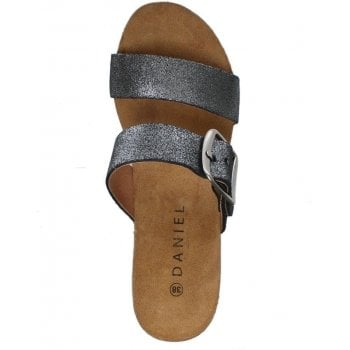 Daniel Patrinia Pewter Metallic Leather Two Bar Wedge Sandals