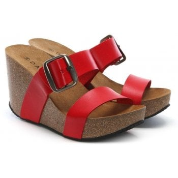 Daniel Patrinia Red Leather Two Bar Wedge Sandals