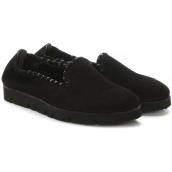 Kennel & Schmenger Black Suede Jewelled Slip On Pumps