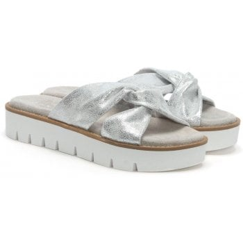 Daniel Aspro Silver Metallic Knotted Cross Strap Mules