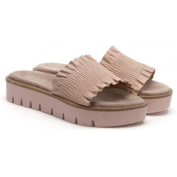 Daniel Frilla Pink Leather Cleated Flatform Sliders