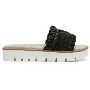 Daniel Frilla Black Leather Cleated Flatform Sliders