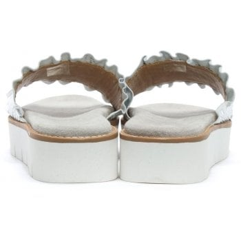 Daniel Frilla Silver Leather Cleated Flatform Sliders