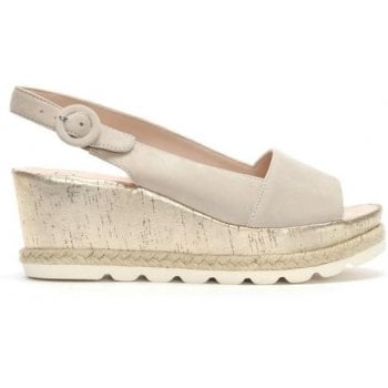 Hogl Beige Suede Low Cork Wedge Sandals