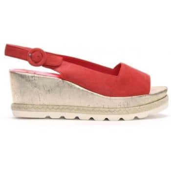 Hogl Red Suede Low Cork Wedge Sandals