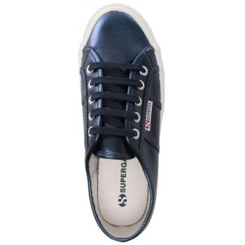 Superga Cotmetu Blue Metallic Lace Up Trainers