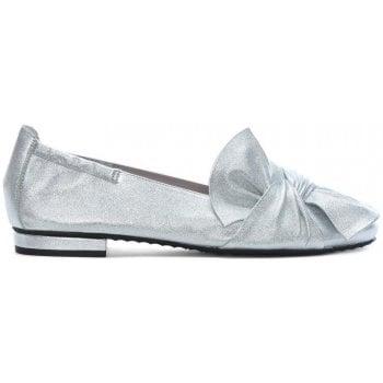 Kennel & Schmenger Silver Metallic Leather Bow Ballet Pumps
