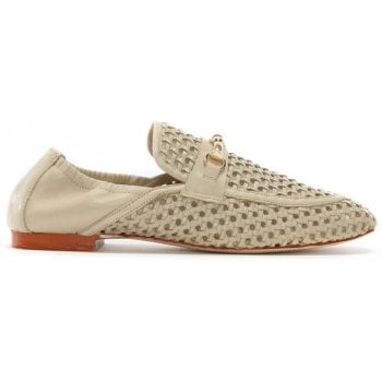 Daniel Ballena Beige Leather Woven Loafers