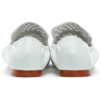 Daniel Ballena White Leather Woven Loafers