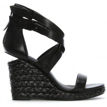 Daniel Palomo Black Leather Lattice Wedge Sandals
