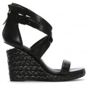 Daniel Palomo Black Leather Lattice Wedge Sandals