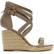 Daniel Palomo Beige Reptile Leather Lattice Wedge Sandals