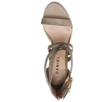 Daniel Palomo Beige Reptile Leather Lattice Wedge Sandals