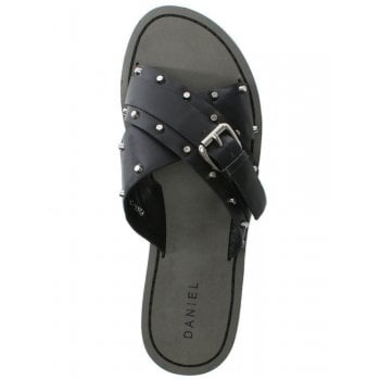Daniel Rasa Black Leather Studded Cross Strap Sliders