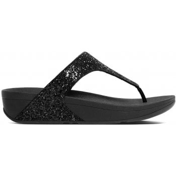 Fitflop Glitterball Black Glitter Toe Post Sandals