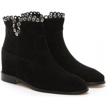 Daniel Essienda Black Suede Concealed Wedge Ankle Boots