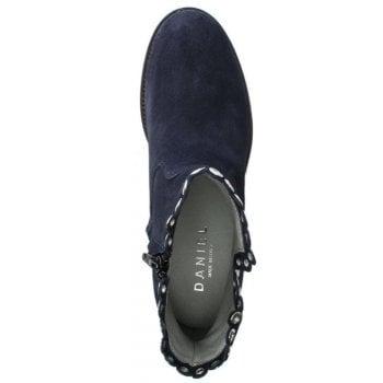 Daniel Essienda Navy Suede Concealed Wedge Ankle Boots