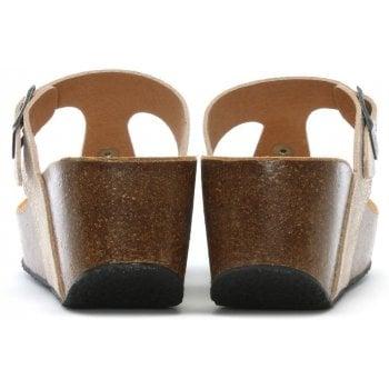 Daniel Peccavi Gold Metallic Leather Toe Post Wedge Sandals