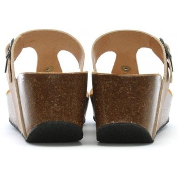 Daniel Peccavi Taupe Leather Toe Post Wedge Sandals
