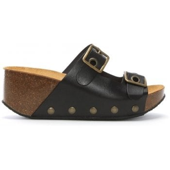 Daniel Pantar Black Leather Studded Mules