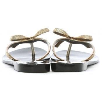 Melissa Harmonic Metallic Gold Bow Flip Flops