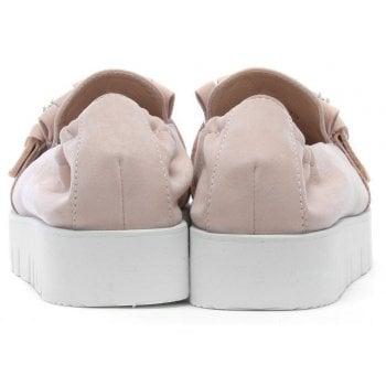 Kennel & Schmenger Broderie Pink Suede Embellished Flatform Loafers