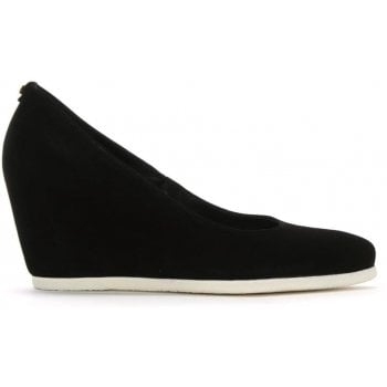 Hogl Black Suede Wedge Court Shoes