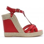Daniel Canya Red Leather T Bar Wedge Espadrilles