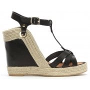 Daniel Canya Black Leather T Bar Wedge Espadrilles