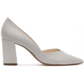 Hogl High Block Heel Taupe Leather Reptile Court Shoes