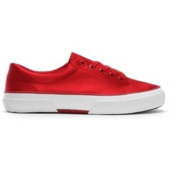 Lauren by Ralph Lauren Jolie Red Satin Lace Up Sneakers