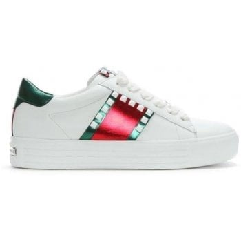 Kennel & Schmenger Irving White Leather Studded Lace Up Trainers