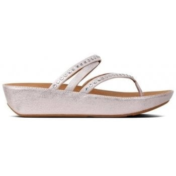 Fitflop Linny Criss Cross Blush Metallic Nude Leather Crystal Toe Post Sandals