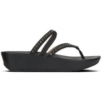 Fitflop Linny Criss Cross Black Leather Crystal Toe Post Sandals