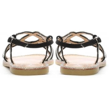 DF By Daniel Kloss Black Twist Strap Diamante Sandals