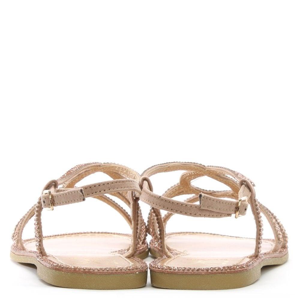 35b4ba441 DF By Daniel Kloss Pink Twist Strap Diamante Sandals - DF By Daniel ...