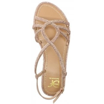 DF By Daniel Kloss Pink Twist Strap Diamante Sandals