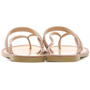 DF By Daniel Delevingne Pink Diamante Toe Post Sandals