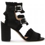 Daniel Amack Black Satin Ruffle Strap Sandals