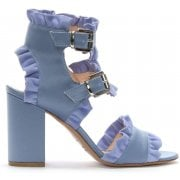 Daniel Amack Blue Satin Ruffle Strap Sandals