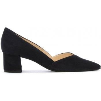 Hogl Low Block Heel Navy Suede Court Shoes