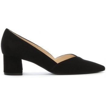 Hogl Low Block Heel Black Suede Court Shoes